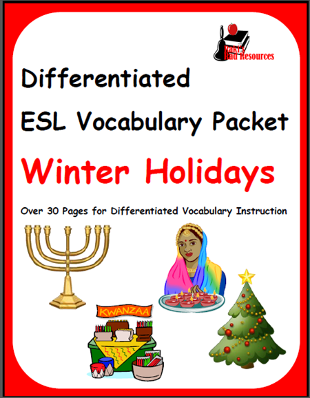 Winter holiday vocabulary packet for English language learners - covers Christmas, Kwanza, Haunkah and Diwali.