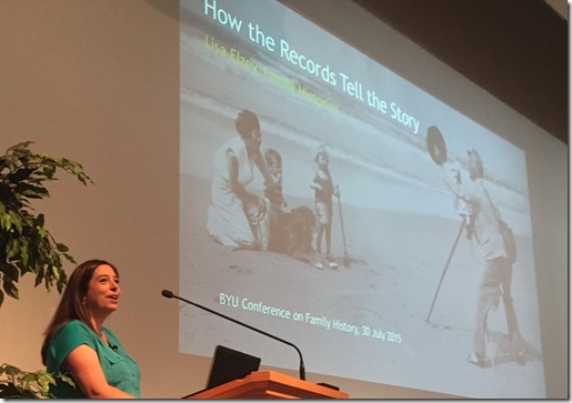 Lisa Elzey teaches a session at the 2015 BYU Conference on Family History and Technology.