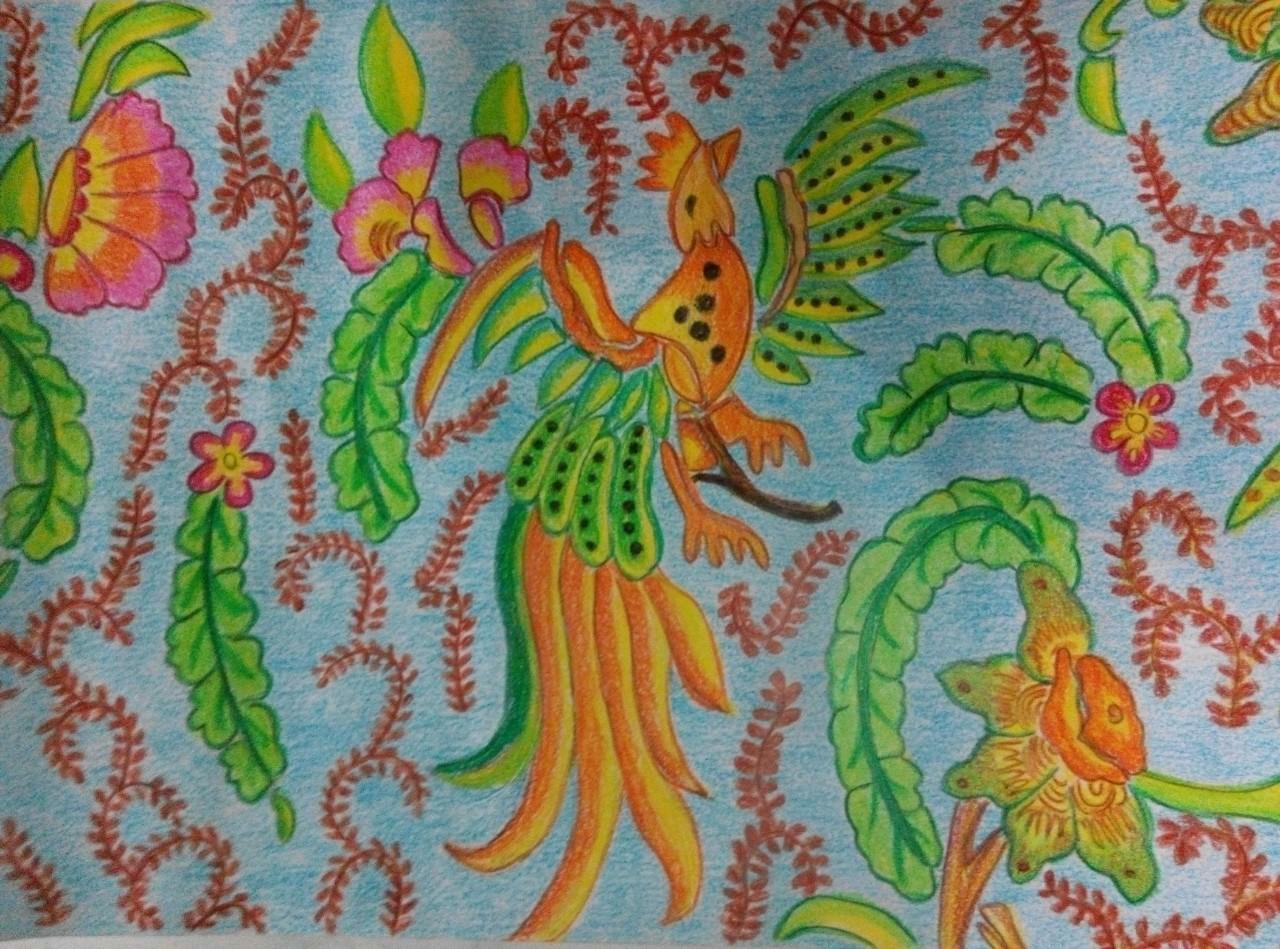 3 Warnai pola batik yang sudah kalian gambar tadi sekreatif kalian 4 Mewarnai bisa menggunakan crayon ataupun cat air bisa juga memadukan keduanya