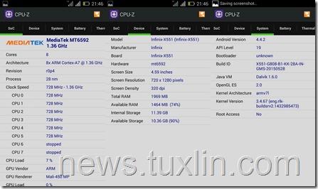 CPU-Z Infinix Hot Note X551