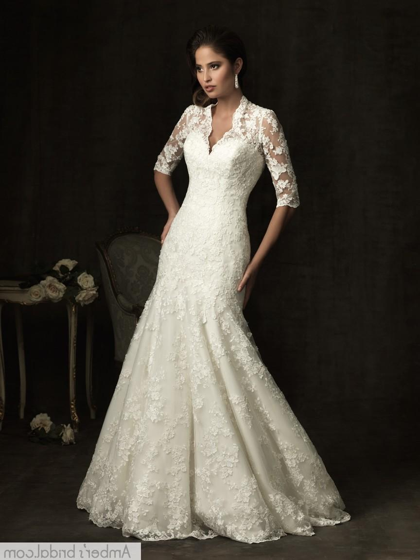 Trumpet  Mermaid V-neck Court Train Lace Wedding Dress