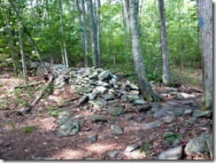 Trail crosses an old stone wall