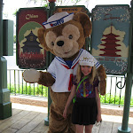 Hannah with Duffy the Bear in Epcot in Disney 06072011a