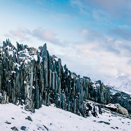 Arctic Slate by Annette Nordlinder - Nature Up Close Rock & Stone ( mountain, snow, slate, sea, arctic, formation,  )