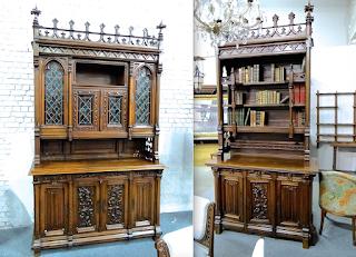 Гарнитур-буфет и книжный шкаф в готическом стиле. 19-й век. Дерево, резьба, цветное стекло.