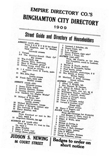 1909 Binghamton city street guide