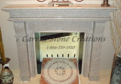 Simple Polished Wild Rose Granite Fire Place