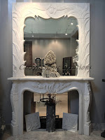 White Marble Fireplace with Overmantle Mirror