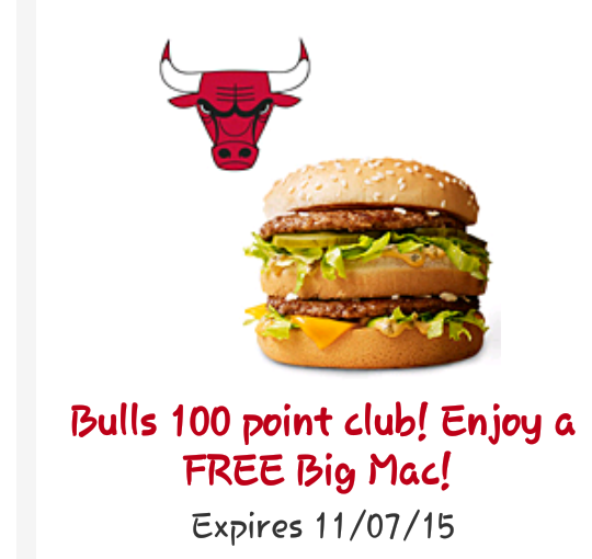 Mcdonalds Free Bigmac For The Chicago Bulls Big Win Exp 117