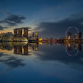 Shenton Way & MBS @ Blue Hour by Gordon Koh - City,  Street & Park  Night ( clouds, shenton way, garden by the bay, skyline, riverfront, marina bay sands, cityscape, travel, singapore, city, financial district, skyscraper, sunset, jubliee bridge, buildings, asia, mbs, singapore flyer, long exposure, waterfront )