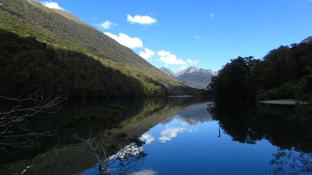 A serene lake along the drive to Milford Sound.