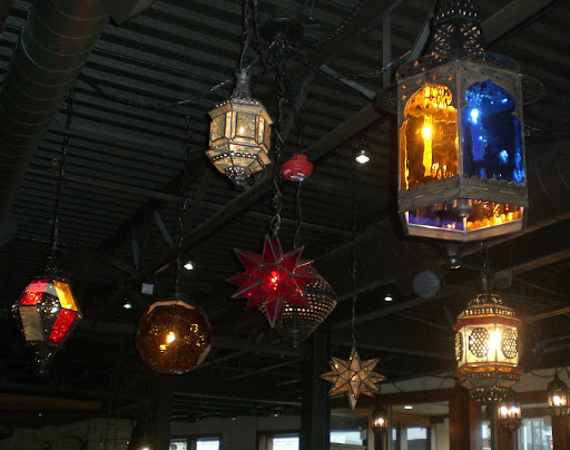 Lanterns lighting the way in the main dining room at Milagro Cantina Kirkland [photo/Heather Jensvold]