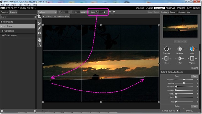 Leveling Tool  in Perfect Photo Suite