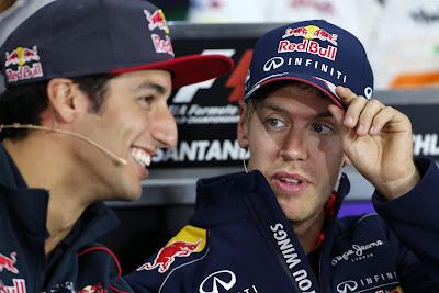Даниэль Риккардо и Себастьян Феттель на пресс-конференции в четверг на Гран-при Германии 2013