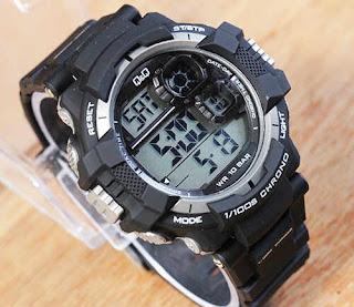 jam tangan Q&Q Digital Dual time black rubber Grey