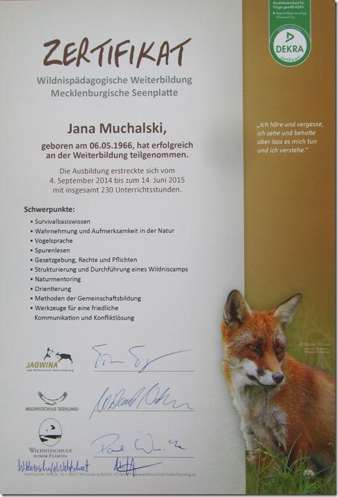 Zertifikat Wildnispädagogische Weiterbildung