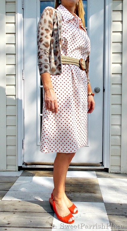 Vintage 1960's Dress, leopard sweater, orange peep toes2