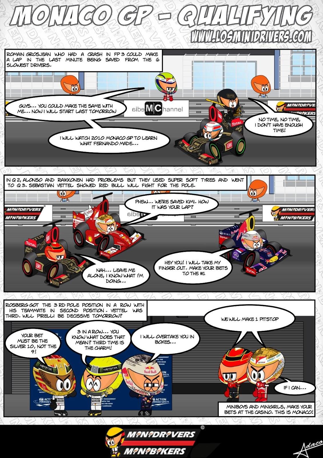 комикс MiniDrivers по квалификации на Гран-при Монако 2013
