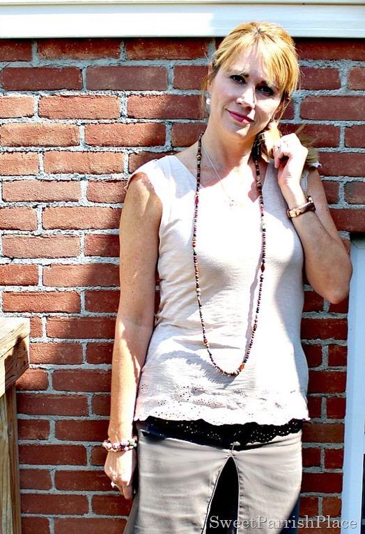 Brown skirt, eyelet Tshirt, nude wedges4