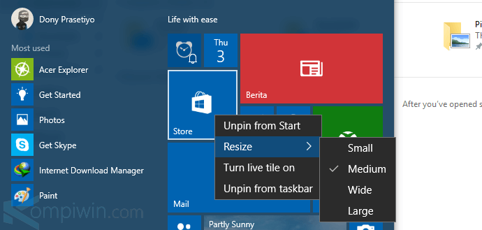 cara mengubah tampilan start menu windows 10 8