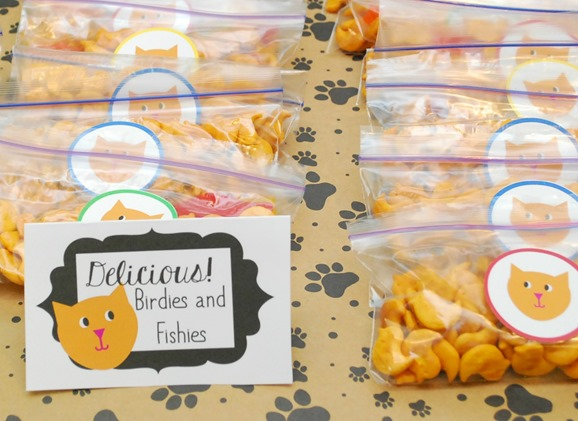 Birdies and Fishies Food Label for Cat and Dog Party