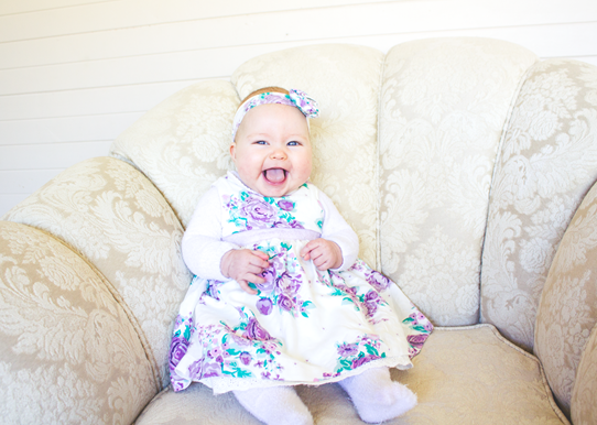 Little Miss Lottie, 3 months old | Lavender & Twill