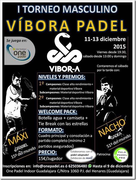 I Torneo Masculino VIBORA PÁDEL del 11-13 diciembre en One Padel Indoor Guadalajara.
