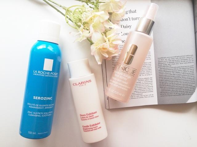 Serozinc, Clarins exfoliating toner, Clinique moisture surge facial spray, Clarins toner, La Roche PoSay