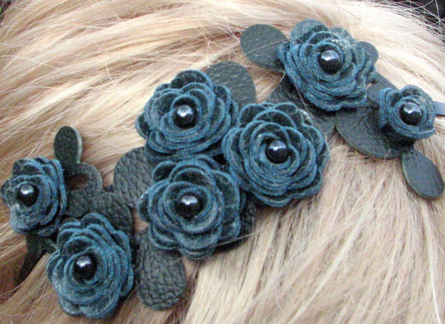 Teal flower headband leather