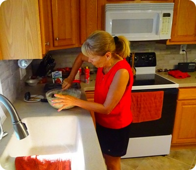 Marsha making zucchini bread.