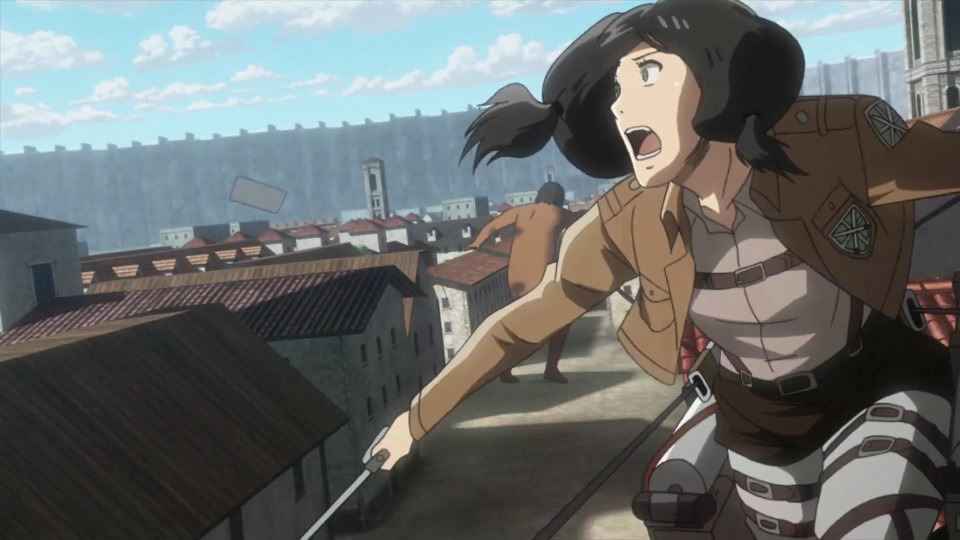 A girl rushes along a rooftop looking out over the battle with fear