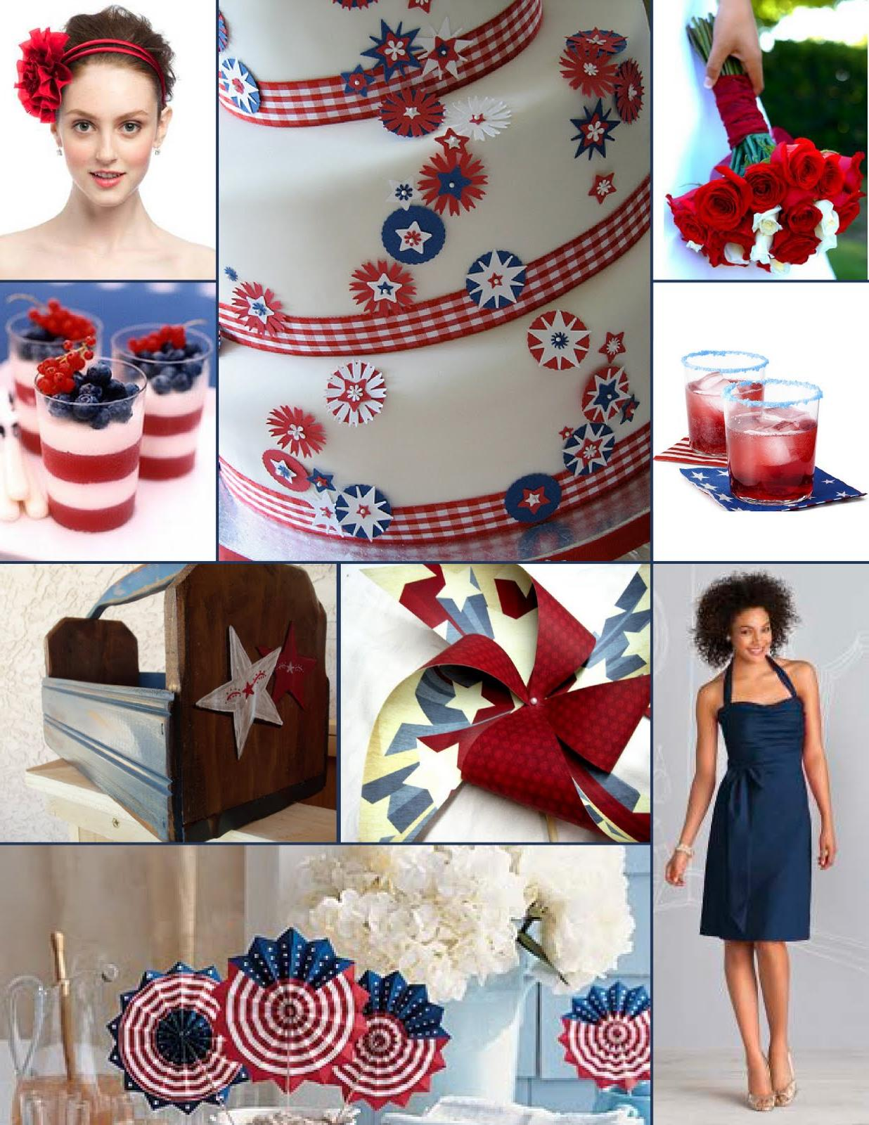 red and blue country wedding