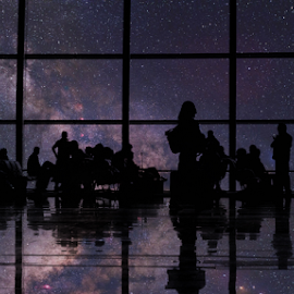 Imagination by SJ GaMit - Landscapes Starscapes ( milkyway, airport, reflection, stars, silhouette, art, people, photoshop )