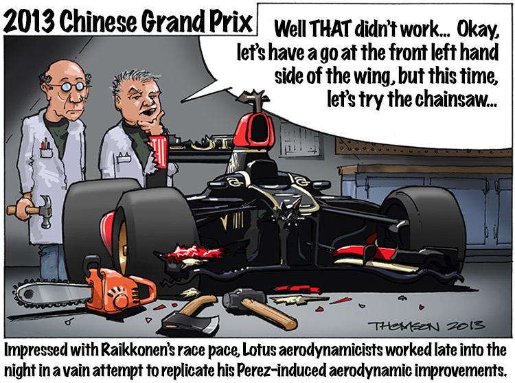 Lotus воссоздают аэродинамические улучшения - комикс Bruce Thomson по Гран-при Китая 2013