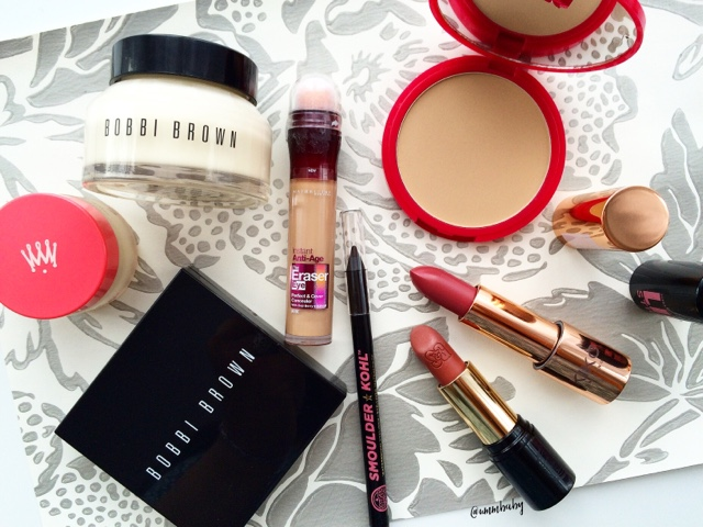 makeup ive repurchased including bobbi brown, soap and glory, nuxe, kiko and bourjois