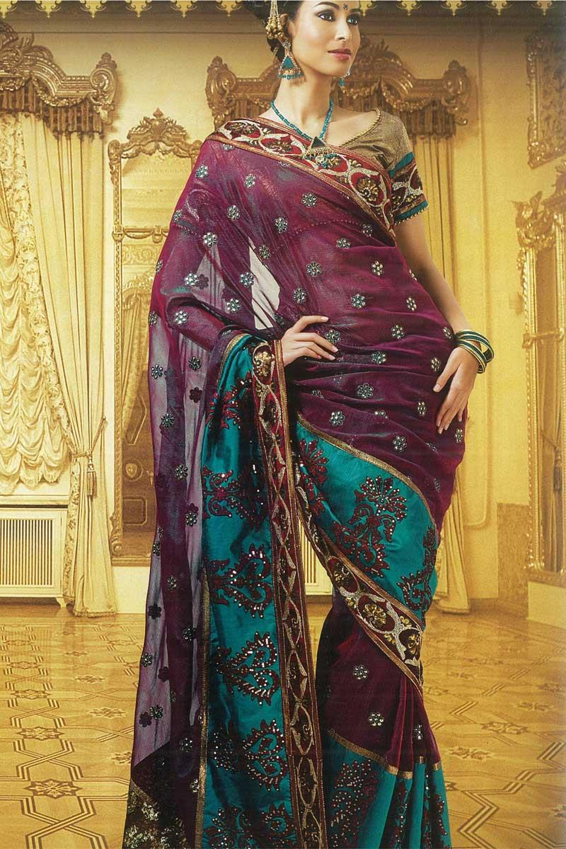 Purple and Teal Georgette
