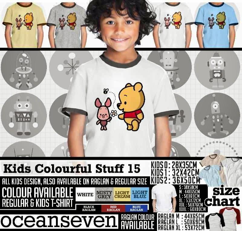 Kaos anak Kids Colourful 15 Lucu Gambar Winnie the Pooh distro ocean seven