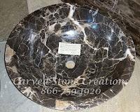 """D17 x H6"""" Unrimmed Vessel Sink Polished Dark Emperador Marble."""