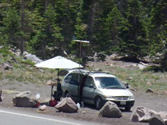 Campers at summit of Everitt Memorial Highway