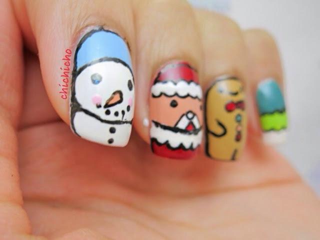 Christmas Characters Nail Art