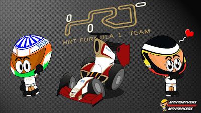 Нараин Картикеян и Педро де ла Роса HRT F112 Los MiniDrivers 2012