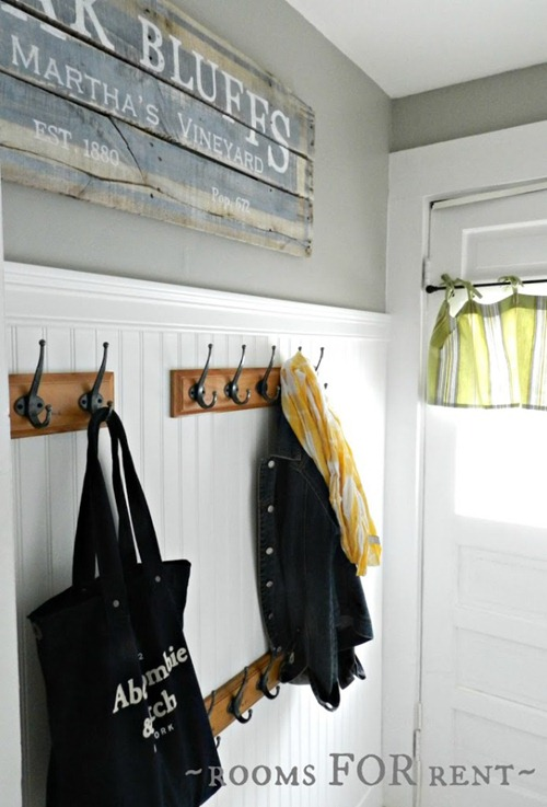 beadboard and hooks mudroom