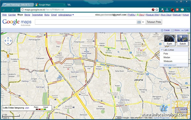 Google maps view di Chrome