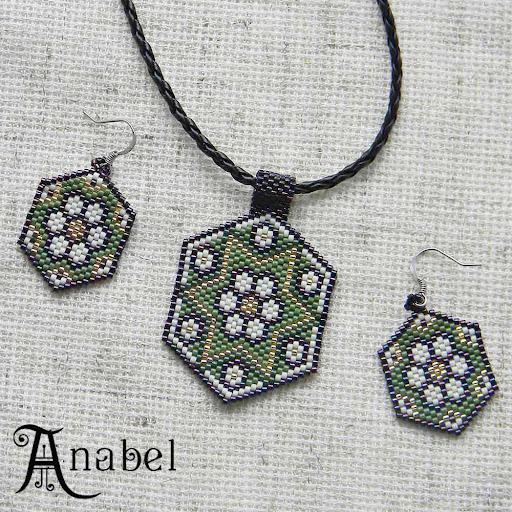 кулон серьги ромашки из бисера делика мозаика Anabel