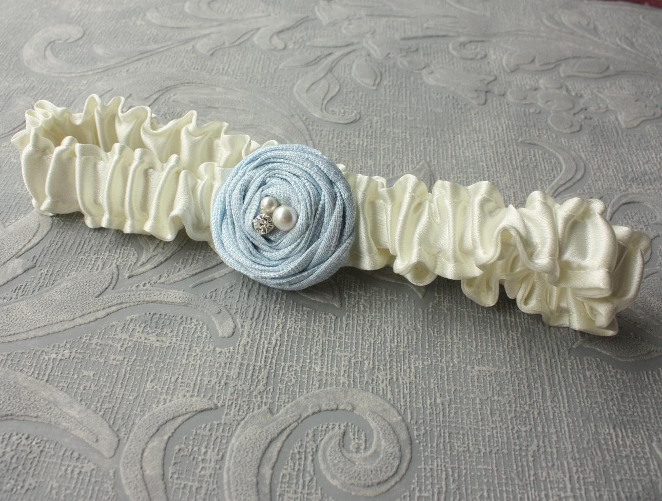 Ivory Silk Bridal Garter with a Single Something Blue Rose  Other Colors