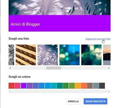 personalizza raccolta google plus