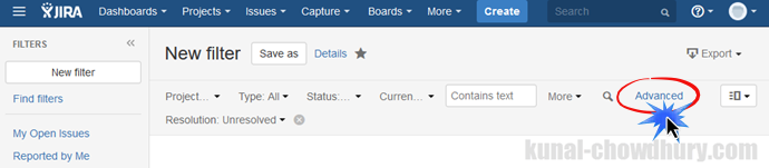 Custom filter creation in JIRA dashboard (www.kunal-chowdhury.com)