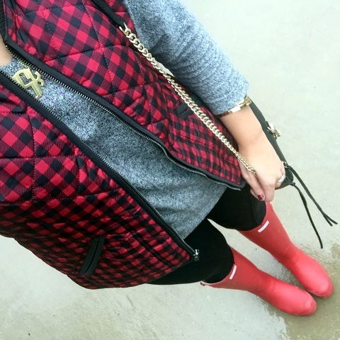 buffalo plaid, how to wear hunter boots, quilted vest