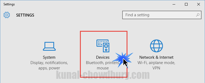 Windows 10 Settings - Devices (www.kunal-chowdhury.com)