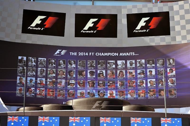фотографии чемпионов Формулы-1 на подиуме Гран-при Австралии 2014